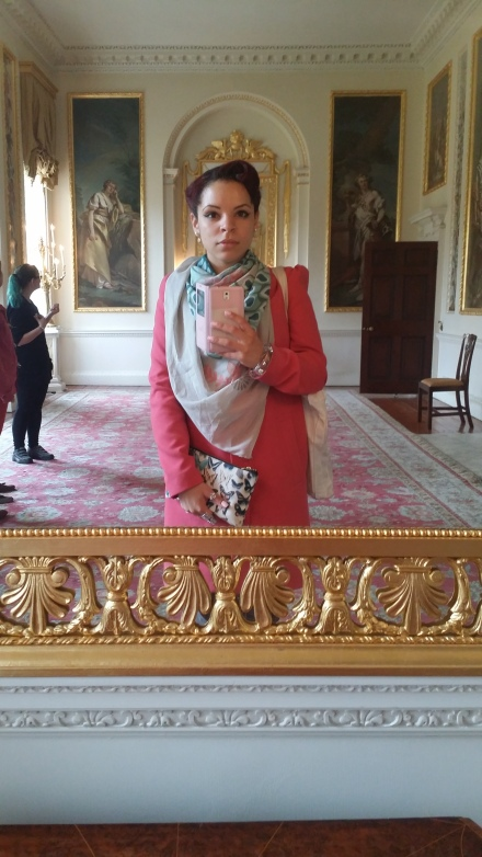 Do I look the part of a foreign dignitary? I think so. My fanciest selfie in a gilded mirror at Danson House, wearing my Redbubble scarf and bag in tandem. Never be afraid to mix prints. Look for a solid foundation in a complimentary/ contrasting color to build off of. Bright pink coat: H&M